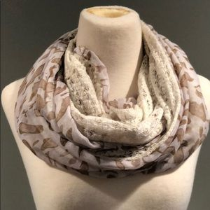 Cute animal print and lace infinity scarf
